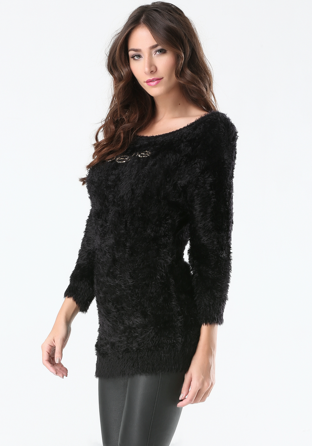 fbedcc2135 Lyst, Bebe Logo Eyelash Sweater in Black