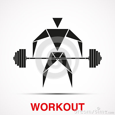 workout logo with triangle man vector stock vector