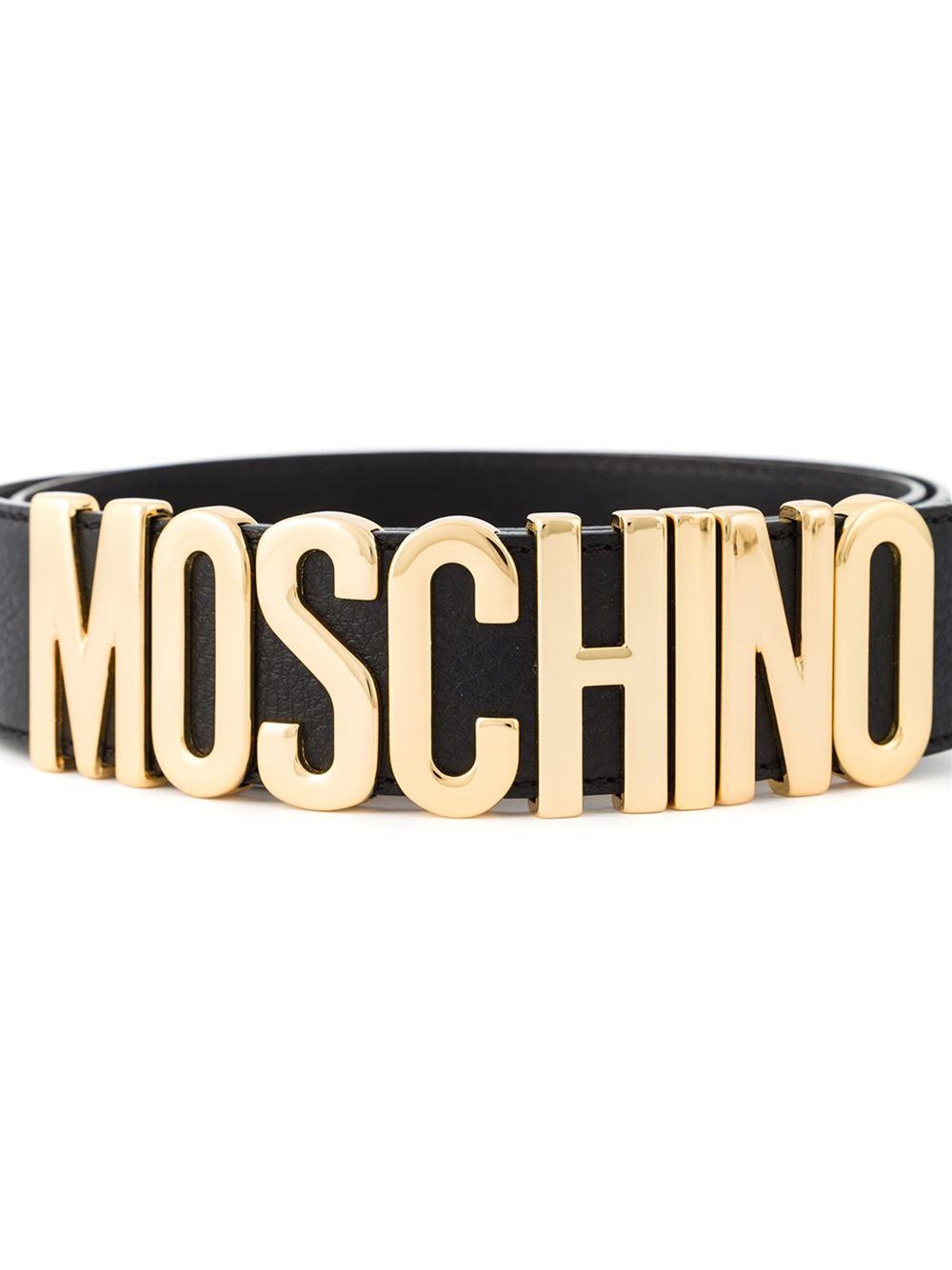 022fe58c66 Moschino Logo Plaque Belt in Gold (black), Lyst
