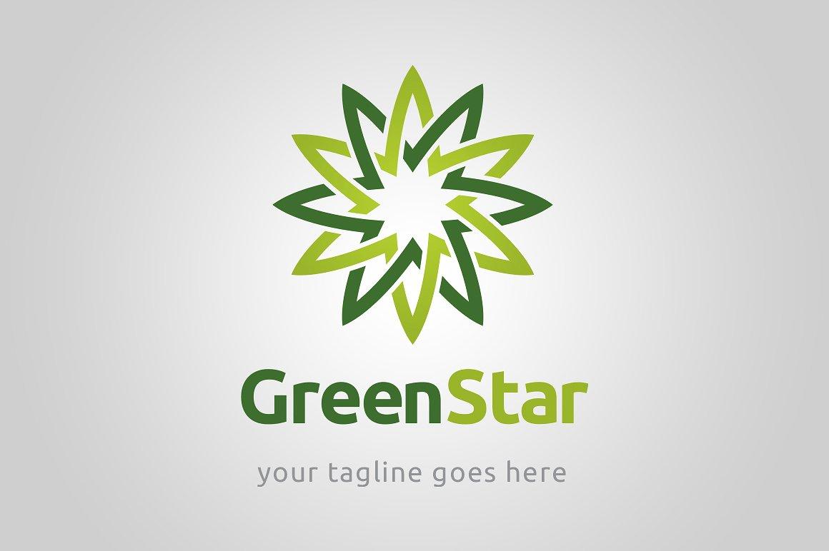 Green square white stars Logos