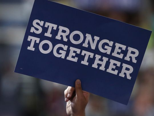 stronger together hillary logos