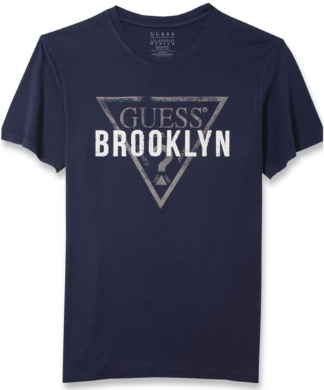 079a3166 Guess Logo Tshirt in Blue for Men, Lyst