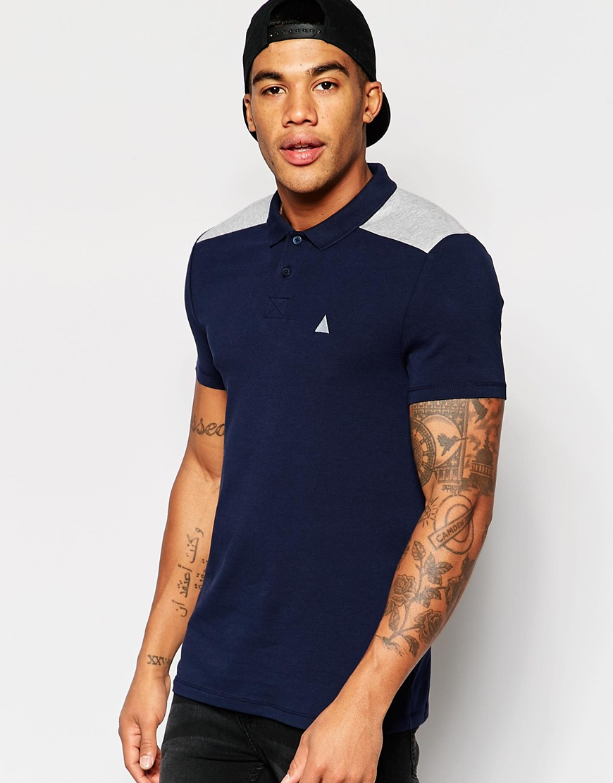 f2179e34 Lyst, Asos Muscle Logo Polo With Shoulder Panels, Navy .