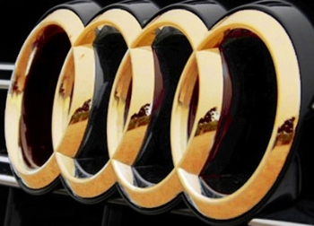 Pair New Front Rear 24k Gold Plated Audi 4 Ring Car