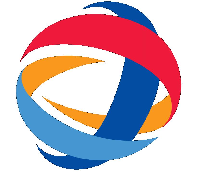 blue and orange logos