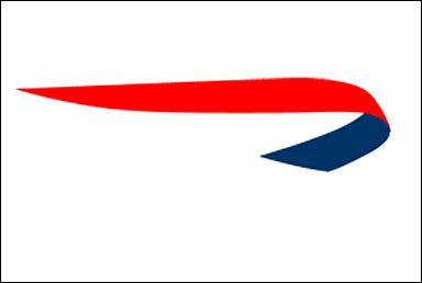 Red and blue swoosh Logos