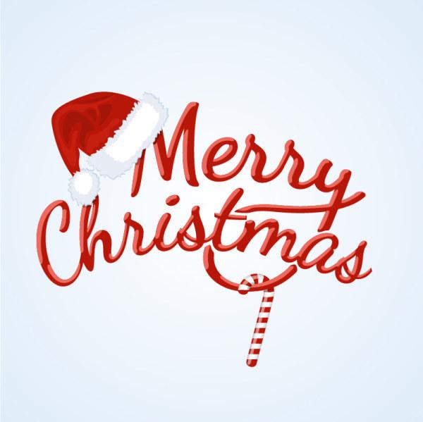 red merry christmas logo creative vector vector