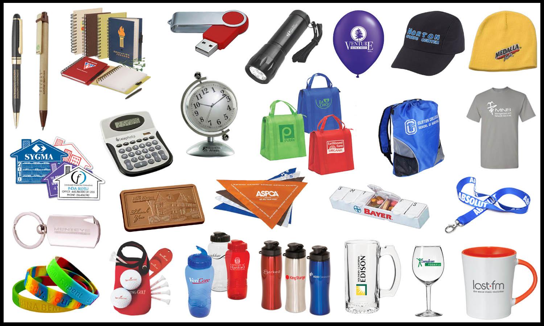 marketing items with logos