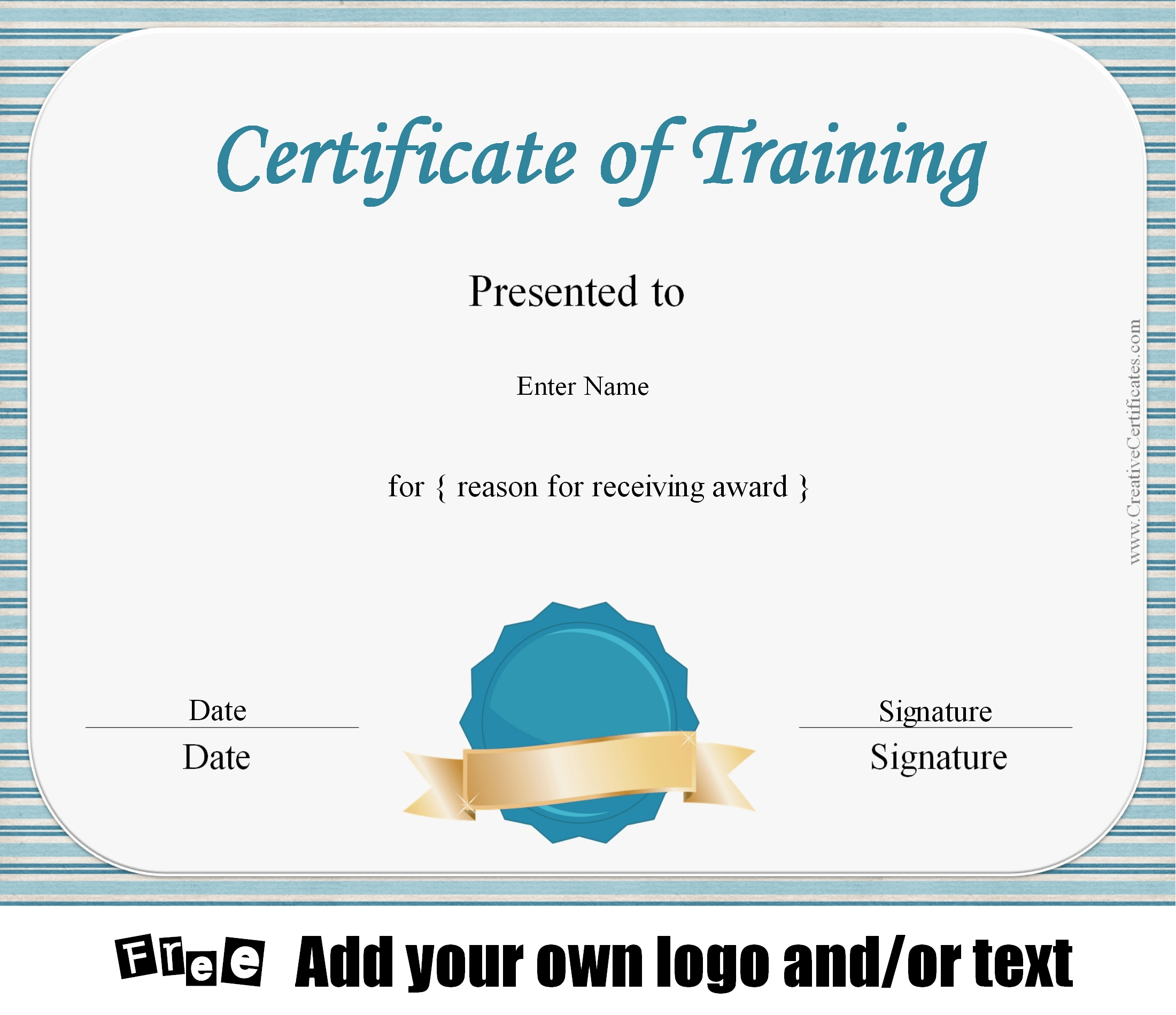 Certificate Of Training Template, Customizable