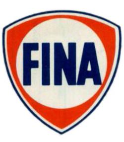 "12/"" FINA GAS PUMP GASOLINE OIL DECAL 1956-73"